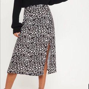 NWT High Waisted Leopard Print Midi Skirt